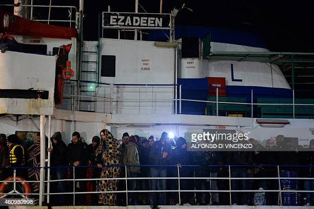 Some 500 Syrian would be immigrants arrive aboard the Ezadeen ship at Corigliano harbour on January 2 2015 Italian coastguards have narrowly...