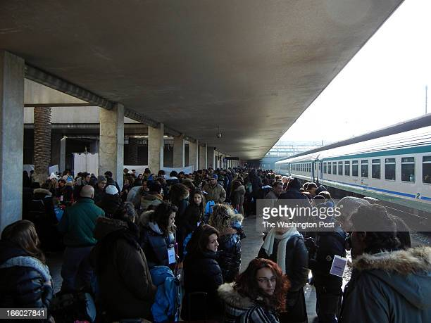 """Some 560 students from Italy's region of Tuscany wait to board the """"Train of Remembrance"""" at the Santa Maria Novella station in Florence on Jan. 27,..."""