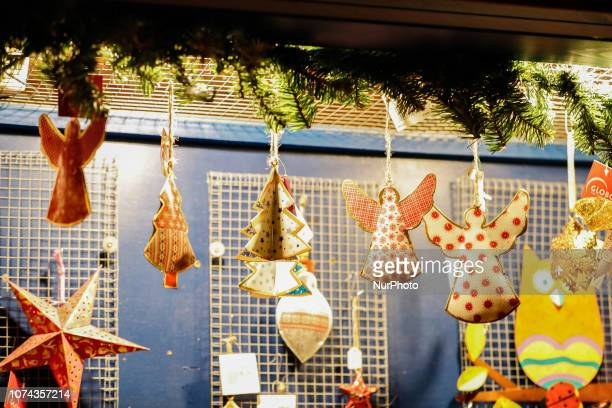 Some Angels and christmas trees as christmas tree decoration Christmas Market in the Northern Bavarian town of Ansbach