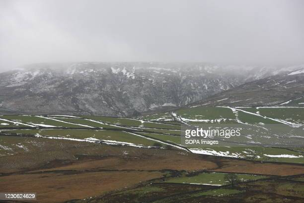 Some bands of snow still cling to the hills near Holme Moss in the Peak District. West Yorkshire has seen heavy snowfall and sub-zero temperatures...