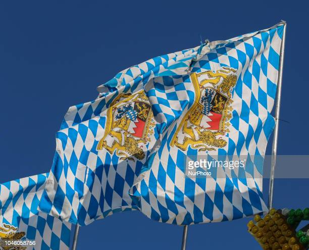 Some Bavarian Flags on Day 12 of the Oktoberfest The Oktoberfest is the largest Volksfest in the world It will take place until Sunday October 7