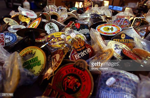 Some beer related accesories are displayed at the Great British Beer Festival at the Olympia Exhibition Center August 5 2003 in London England
