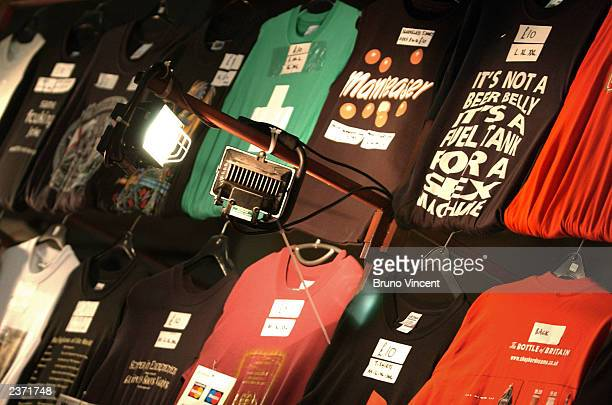 Some beer related T-shirts are seen on display at the Great British Beer Festival at the Olympia Exhibition Center August 5, 2003 in London, England.