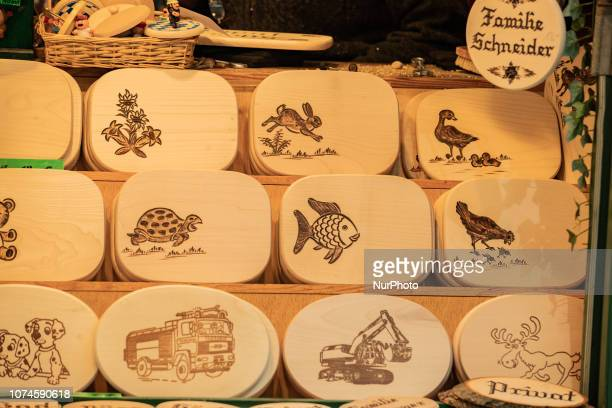 Some boards to eat on with animals pictured The most important christmas market of Munich at Marienplatz was full of visitors because of the warm...