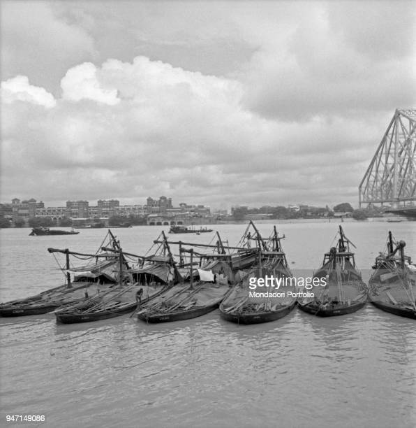 Some boats anchored in the Hooghly river near the Howrah Bridge Kolkata 1962