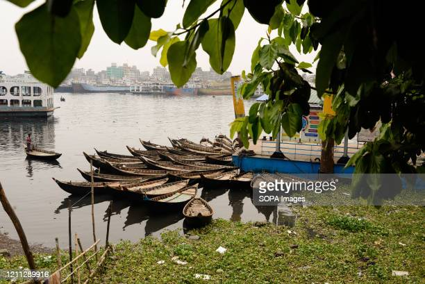 Some boats moored close to the shore beside the Sadarghat Boat Terminal during lockdown. Like every other public transport, ferry services are also...