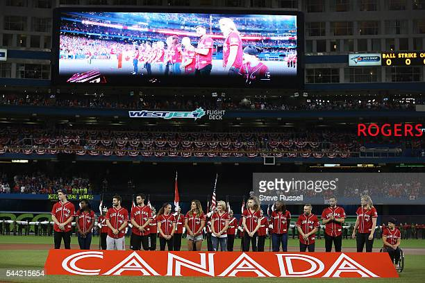 TORONTO ON JULY 1 Some Canadian Olympians were honoured before the game as the Toronto Blue Jays lose the Cleveland Indians 21 in 19 innings on...