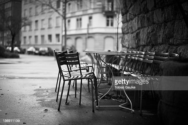Some chairs of cafe in industrial area of Zurich