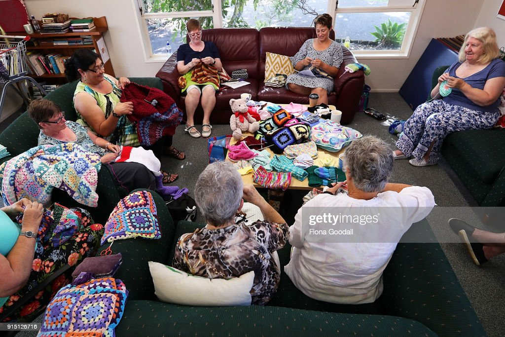 Some charity knitting work on display on February 7, 2018 in