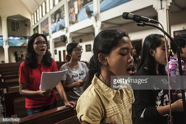 Some children do exercise music in Church Saint Antonius Yogyakarta Indonesia on December 23 2016 This activities preparation Christmas in Yogyakarta