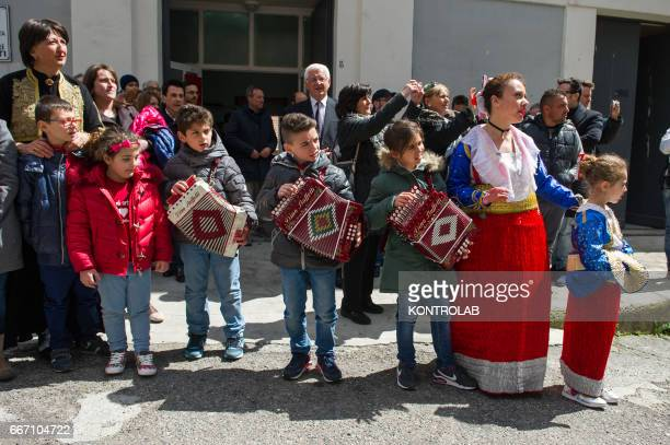 Some children in traditional Albanian clothes waiting Bujar Nishani President of Albania during his visit in Lungro In Calabria southern Italy...