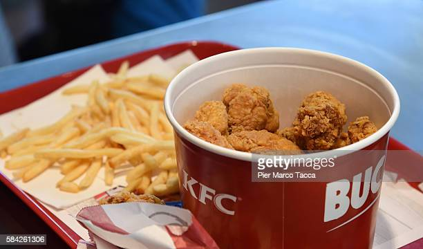 Some chips and chicken fried of a KFC restaurant in Milan are displayed during the opening of a new Kentucky Fried Chicken branch on July 28 2016 in...