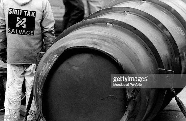 Some drums full of Uranium hexafluoride recovered from the French cargo boat Mont Louis sunken a few miles from Ostend Belgium 1984