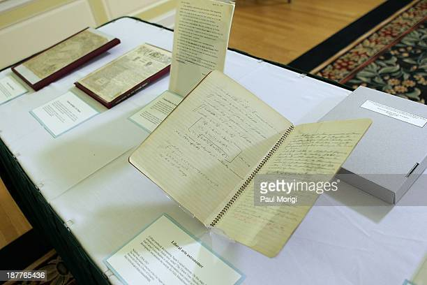 Some examples of the Carl Sagan Papers on display at the Celebration Of Carl Sagan at The Library of Congress on November 12 2013 in Washington DC