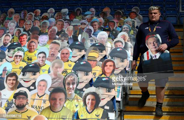 Some famous faces including Nigel Farage among the cardboard cut fans in the seats during the Sky Bet League One Play Off Semi-final 2nd Leg match...