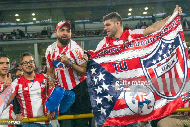 Some fans of Junior before the final second leg match between Deportivo Pasto and Atletico Junior as part of Torneo Apertura Liga Aguila 2019 at...