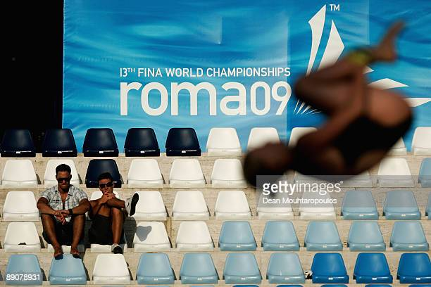 Some fans watch the diving practice at the Stadio del Nuoto on July 17 2009 in Rome Italy