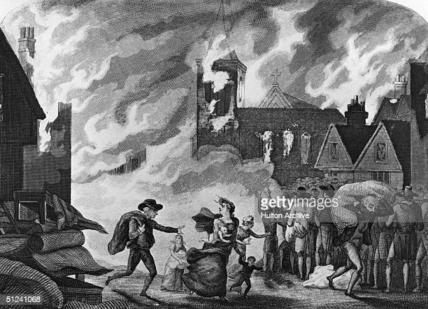 1666 Some flee some watch as the Great Fire of London burns its way through the city