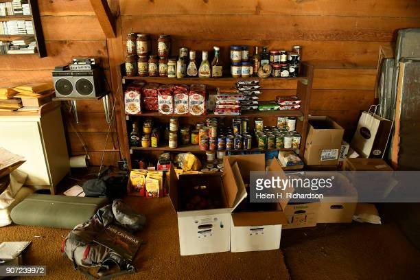 Some food supplies for billy barr are stacked inside his remote cabin on January 9 2018 in Gothic Colorado barr who is a reclusive mountain man and...