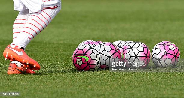 Some footballs are displayed on the field before the Serie A match between Carpi FC and Frosinone Calcio at Alberto Braglia Stadium on March 13 2016...