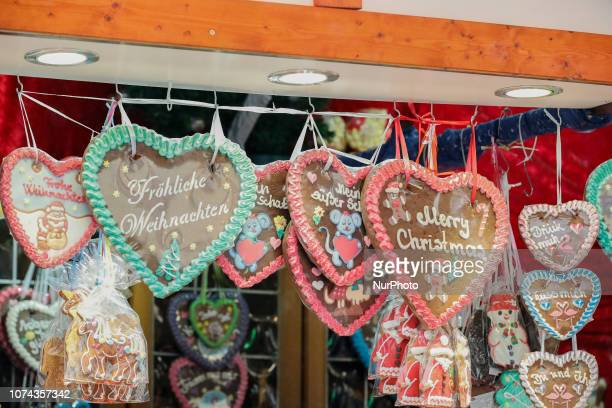 Some ginger bread hearts with the caption Merry Christmas Christmas Market in the Northern Bavarian town of Forchheim It snowed heavily but a lot of...