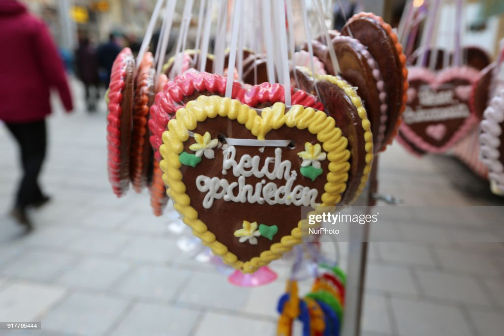 Some Gingerbread-hearts are seen in the Munich Carnival, in Munich, Germany, on 13 February, 2018.