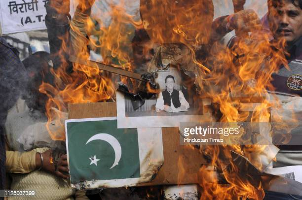 Some groups in Noida burn effigies of Pakistan Prime Minister Imran Khan and other officials from Pakistan as they condemn the act of terror in south...