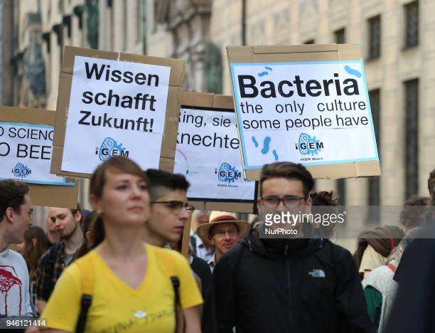 Some hundreds of people joined the March for Science in Munich Germany on 14 April 2018 Among them there was the Pirate party the democrats abroud...