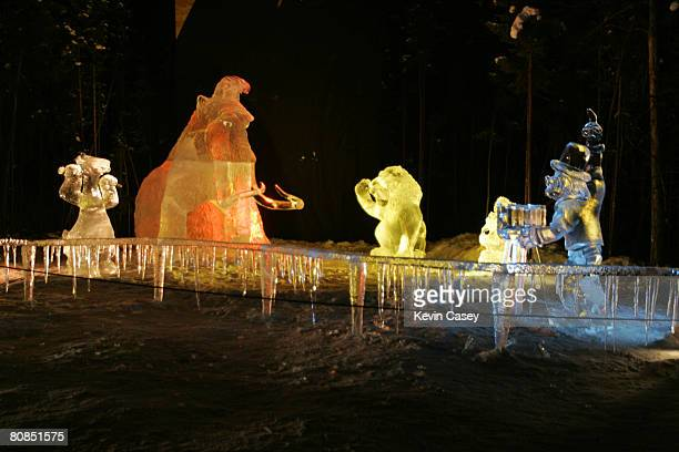 Some ice scuplture featuring the characters from Ice Age for the opening of ICE AGE THE MELTDOWN Park in Fairbanks Alaska on March 12 2006 Leguizamo...