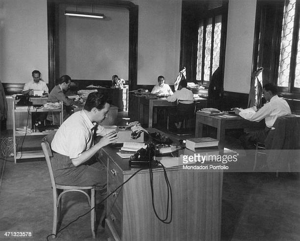 Some Italian journalists working in the editorial office of the weekly magazine Epoca Italy 1960s