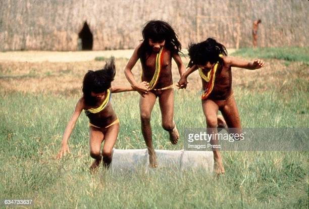Some members of the indigenous people living along the Amazon River circa 1983 in Brazil