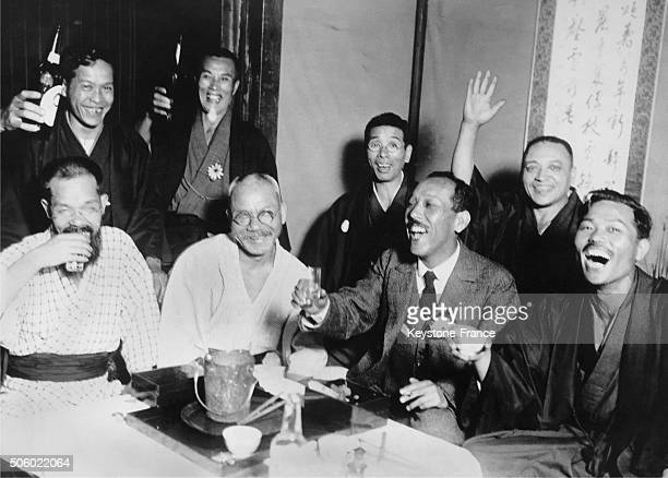 Some members of the Japanese Opposition Party the Kenseikai rejoicing with the resignation of the entire Seiyukai cabinet in Japan circa 1920 this...
