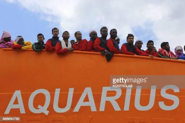 Some migrants on The Ship Acquarius of ItalianFrancoGerman humanitarian organization «Sos Mediterranee» in partnership with «Medici senza frontiere»...