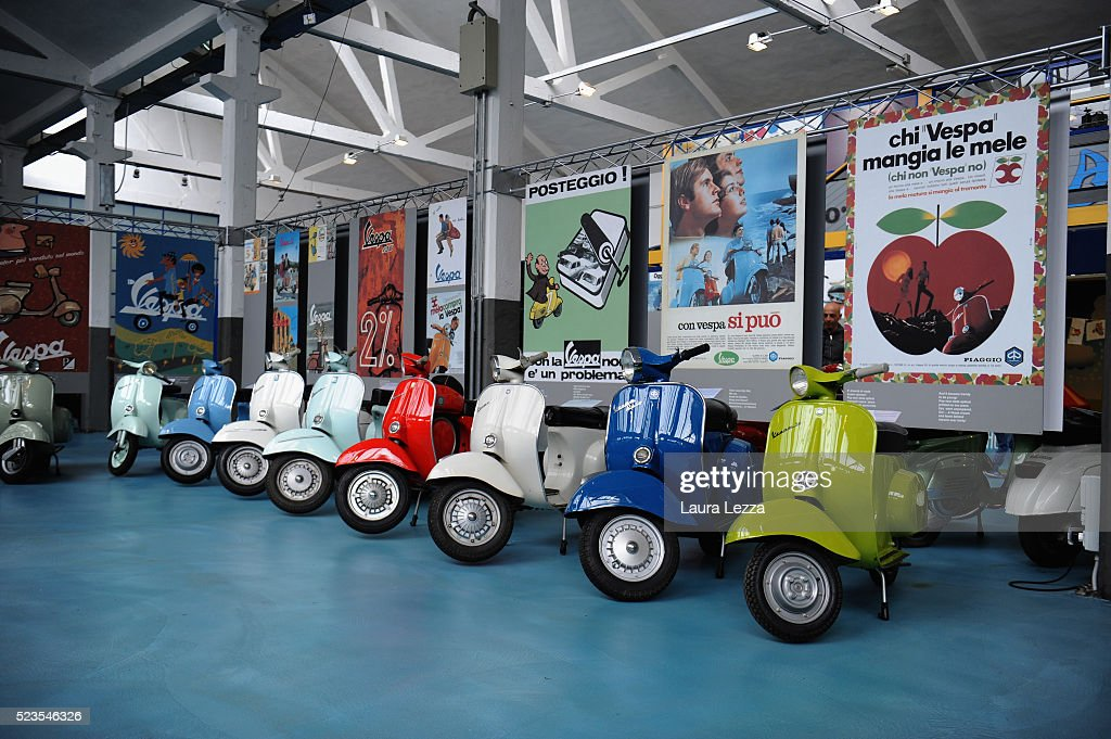 Some models of Vespa scooter are displayed at the exhibition for the celebration of 70 years of the scooter Vespa in the Piaggio museum on April 23, 2016 in Pontedera, Italy. Vespa was born on April 23, 1946 following the end of World War II and is considered the world's best selling scooter and one of the brands of Italian excellence.