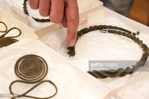 Some objects of a find from the Bronze Age are presented on April 29, 2021 in Gothenburg, Sweden. - The find discovered in Alingsas consists mainly...