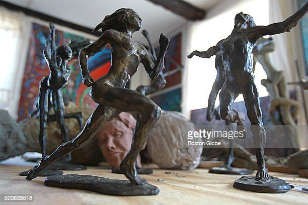 Some of Bobbi Gibb's sculptures at her home in Rockport Mass on March 30 2016 Gibb was the first woman to complete the Boston Marathon 50 years ago