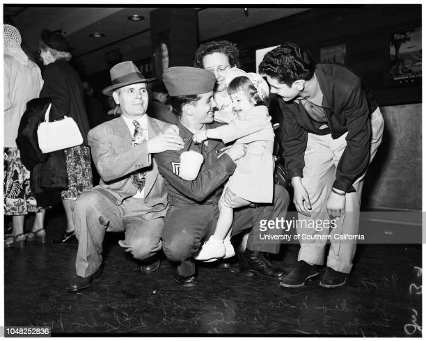 Some of Fortieth returning from Korea via Seattle 4 April 1952 Sergeant Russell KiernanMary Jane KiernanRussell Kiernan JuniorCorporal Thomas...