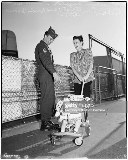 Some of Fortieth returning from Korea via Seattle 4 April 1952 Sergeant Russell KiernanMary Jane KiernanRussell Kiernan JuniorCorporal Thomas...