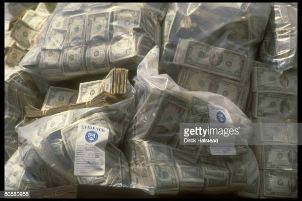 Some of millions of dollars in cash confiscated in 1985 seizure of Rancho del Rio, major drug cartel HQ, during speech by Pres. Bush on drug...