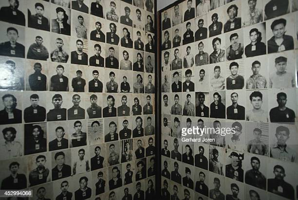 Some of over 6000 photographs at Toul Sleng Museum in Phnom Penh The Khmer Rouge carefully transcribed the prisoners' interrogations photographed the...