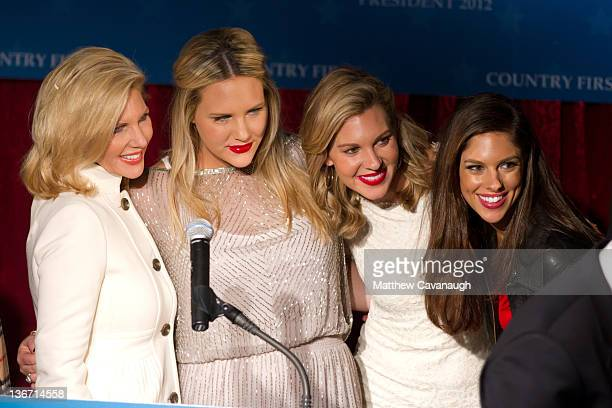 Some of Republican presidential candidate Jon Huntsman's family wife Mary Kaye Huntsman, daughters Liddy, Mary Anne and Abby are pictured during a...