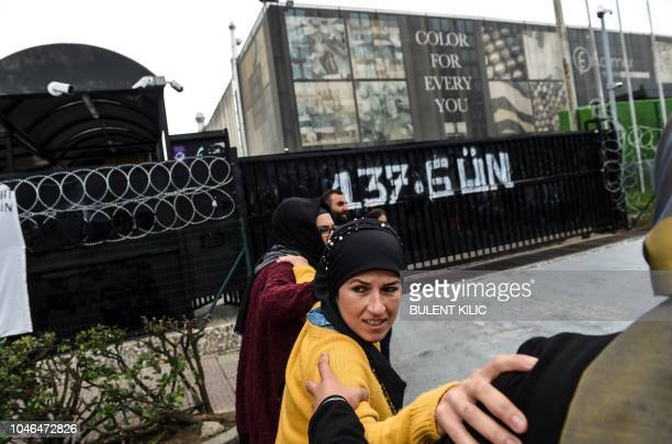 Some of the 132 women laid off from the Flormar Cosmetics Company's Kocaeli factory in which the French cosmetics group Yves Rocher holds a 51percent...
