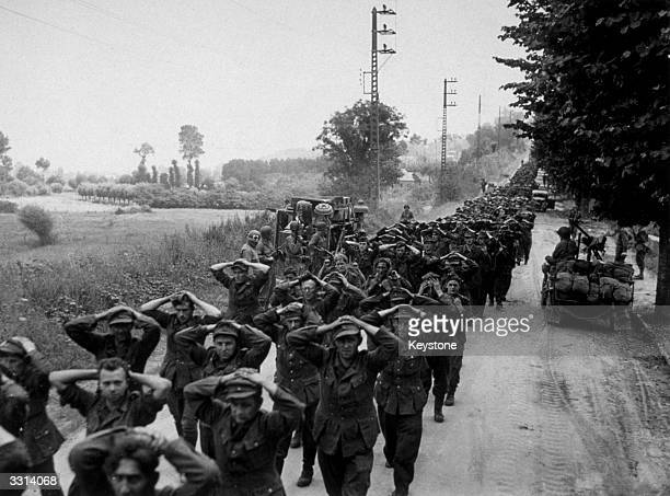 Some of the 2000 German prisoners captured by the Americans in the battle for Avranches in France.