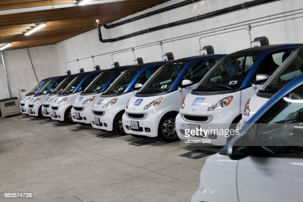 Some of the 300 electric Smarts of the carsharing service Car2Go in San Diego