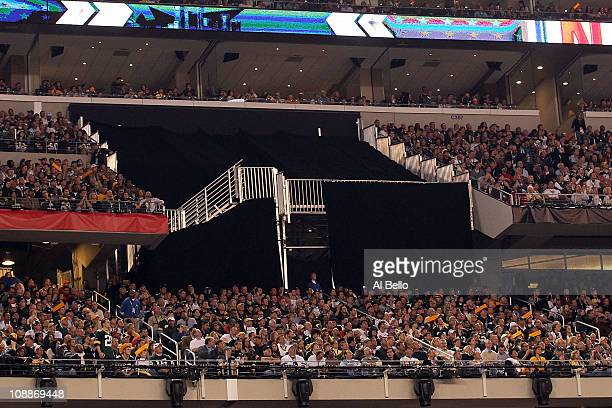 Some of the 400 temporary seats that will no longer be used since they were not complete are taped off before the Pittsburgh Steelers play against...