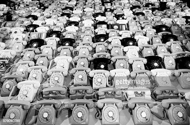 Some of the 480 telephones that the Intelsat 1 'Early Bird' communications satellite can transmit in two way telephone conversations between Europe...