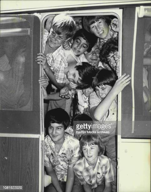 some of the 52 children crammed into the ***** trailer seen through the doorSydney students planning a caravan cramin at Ryde today will be seeking...