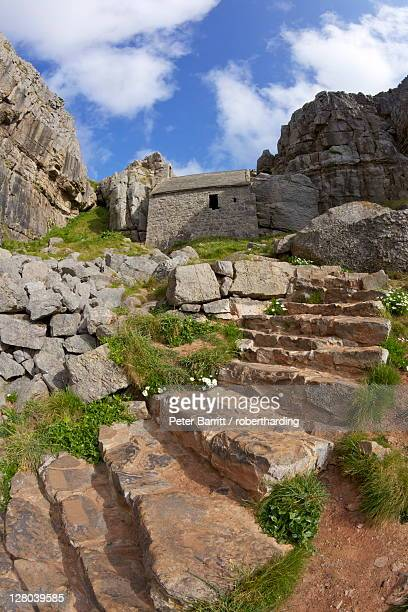Some of the 52 steps near the 13th century St. Govan's Chapel, St. Govan's Head, Gower Peninsula, County of Swansea, Wales, United Kingdom, Europe
