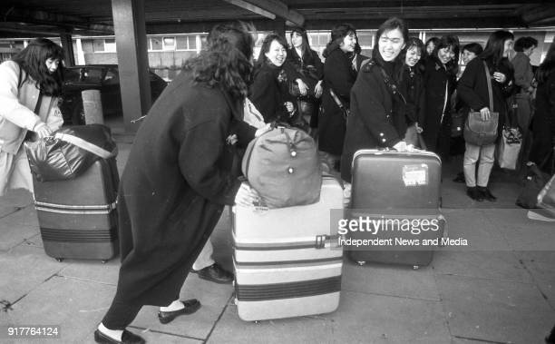 Some of the 54 Japanese Students pictured as they arrived at Dublin Airport to spend a month learning English circa February 1988