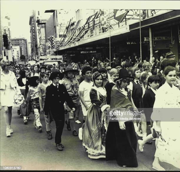 Some of the 650 children of many nationalities who paraded through city streets today to mark UNICEF's Universal Children's Day October 24 1973
